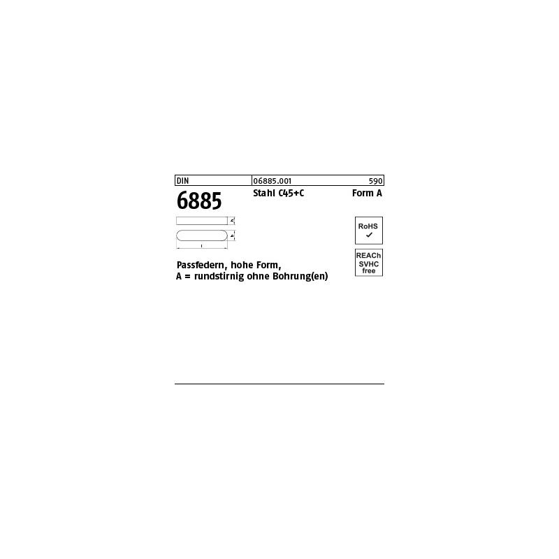 6885128120 Passfeder DIN 6885 12x8x120 Form A C45k rundstirnig